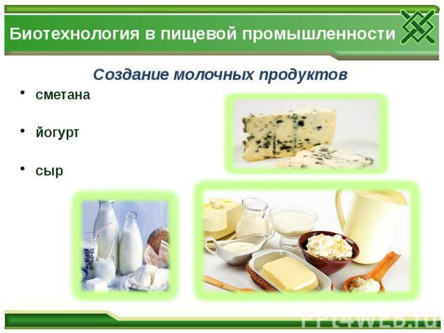 Биотехнология в пищевой промышленности Создание молочных продуктов сметана йогурт сыр