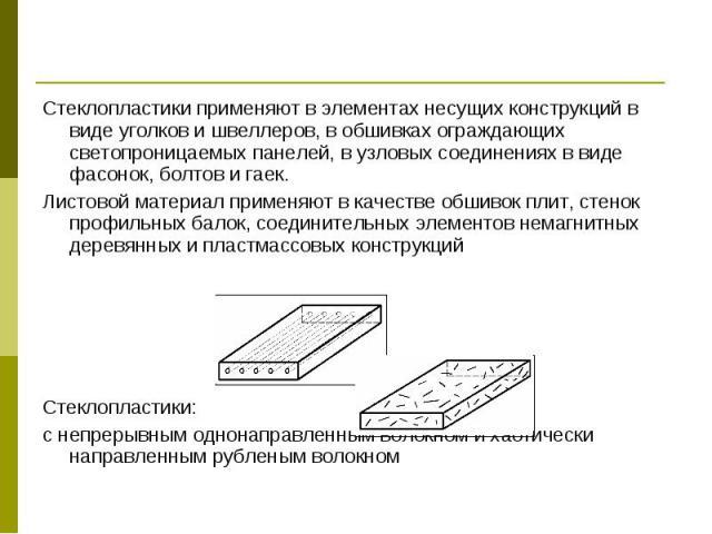 Стеклопластики применяют в элементах несущих конструкций в виде уголков и швеллеров, в обшивках ограждающих светопроницаемых панелей, в узловых соединениях в виде фасонок, болтов и гаек. Стеклопластики применяют в элементах несущих конструкций в вид…