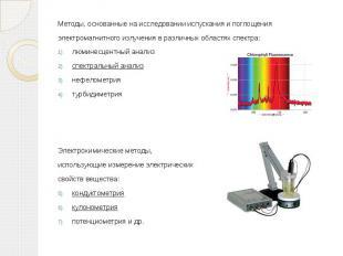 Методы, основанные на исследовании испускания и поглощения Методы, основанные на