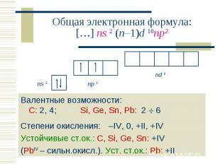 Валентные возможности: С: 2, 4; Si, Ge, Sn, Pb: 2 6 Валентные возможности: С: 2,