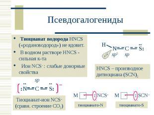 Тиоцианат водорода HNCS («родановодород») не ядовит. Тиоцианат водорода HNCS («р