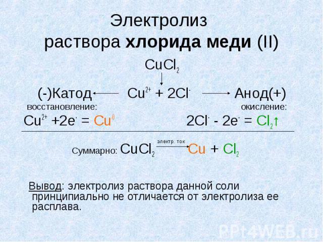 Электролиз раствора хлорида меди (II) CuCl2 (-)Катод Cu2+ + 2Cl- Анод(+) восстановление: окисление: Cu2+ +2е- = Сu0 2Cl- - 2е- = Cl2↑ Суммарно: CuCl2 Сu + Cl2 Вывод: электролиз раствора данной соли принципиально не отличается от электролиза ее расплава.