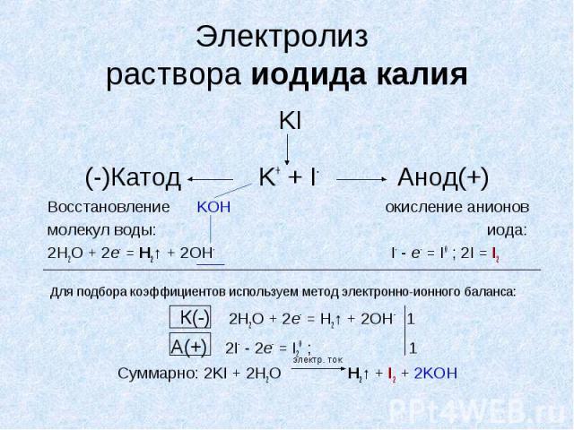 Электролиз раствора иодида калия KI (-)Катод K+ + I- Анод(+) Восстановление KOH окисление анионов молекул воды: иода: 2H2O + 2e- = Н2↑ + 2ОН- I- - e- = I0 ; 2I = I2 Для подбора коэффициентов используем метод электронно-ионного баланса: К(-) 2H2O + 2…