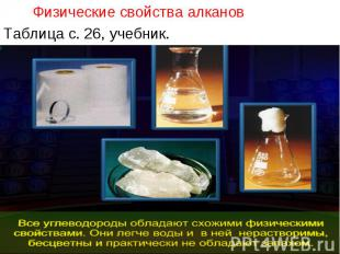 Физические свойства алканов Физические свойства алканов Таблица с. 26, учебник.