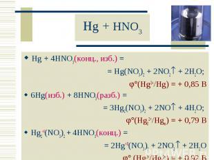 Hg + 4HNO3(конц., изб.) = Hg + 4HNO3(конц., изб.) = = Hg(NO3)2 + 2NO2 + 2H2O; (H