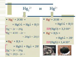 Hg22+ + 2OH = Hg22+ + 2OH = = HgO + Hg + H2O Hg22+ + 2e– = 2Hg Hg22+ + 4OH – 2e–