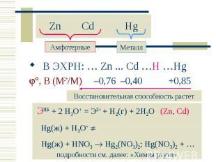 В ЭХРН: … Zn ... Cd …H …Hg В ЭХРН: … Zn ... Cd …H …Hg , В (M2+/M) –0,76 –0,40 +0