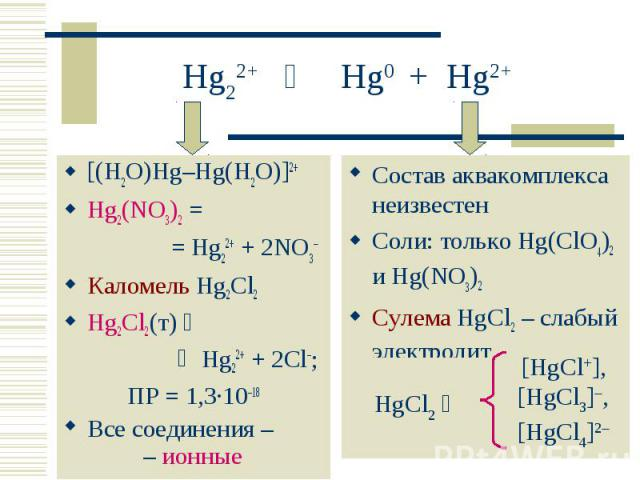 [(H2O)Hg–Hg(H2O)]2+ [(H2O)Hg–Hg(H2O)]2+ Hg2(NO3)2 = = Hg22+ + 2NO3 Каломель Hg2Cl2 Hg2Cl2(т) Hg22+ + 2Cl–; ПР = 1,3·10–18 Все соединения – – ионные кристаллы
