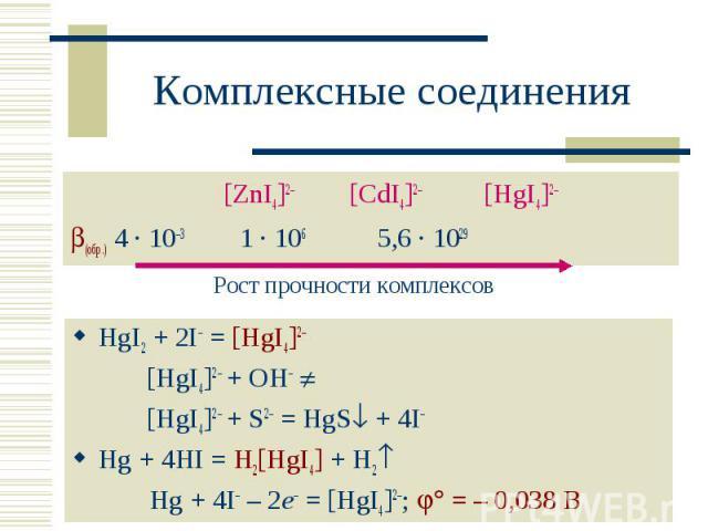 [ZnI4]2– [CdI4]2– [HgI4]2– [ZnI4]2– [CdI4]2– [HgI4]2– (обр.) 4 · 10–3 1 · 106 5,6 · 1029