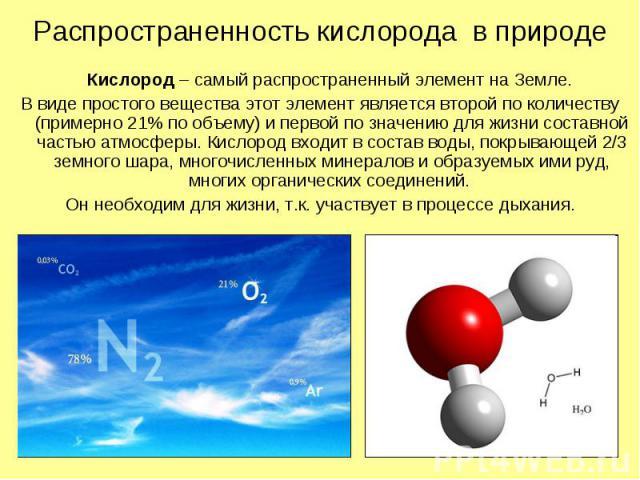 Распространенность кислорода в природе Кислород – самый распространенный элемент на Земле. В виде простого вещества этот элемент является второй по количеству (примерно 21% по объему) и первой по значению для жизни составной частью атмосферы. Кислор…