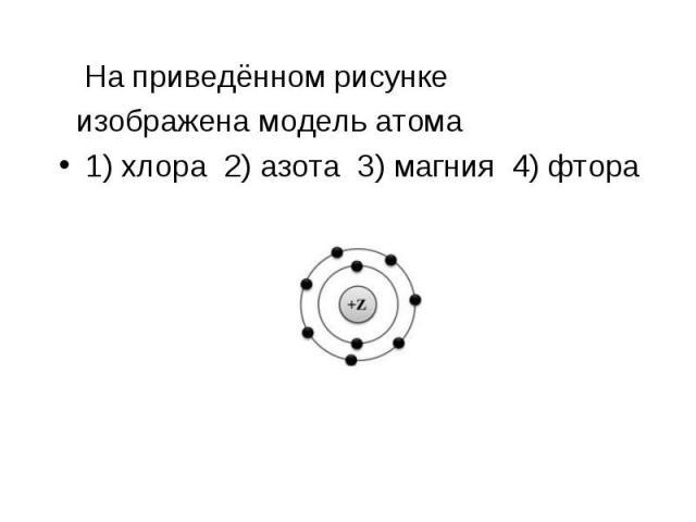 На приведённом рисунке На приведённом рисунке изображена модель атома 1) хлора 2) азота 3) магния 4) фтора
