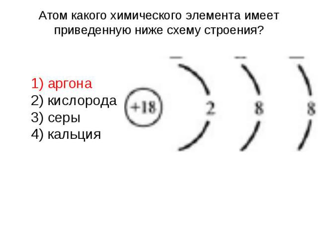 Атом какого химического элемента имеет приведенную ниже схему строения? 1) аргона 2) кислорода 3) серы 4) кальция