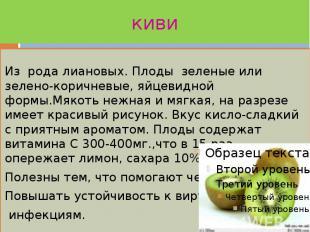 киви Из рода лиановых. Плоды зеленые или зелено-коричневые, яйцевидной формы.Мяк