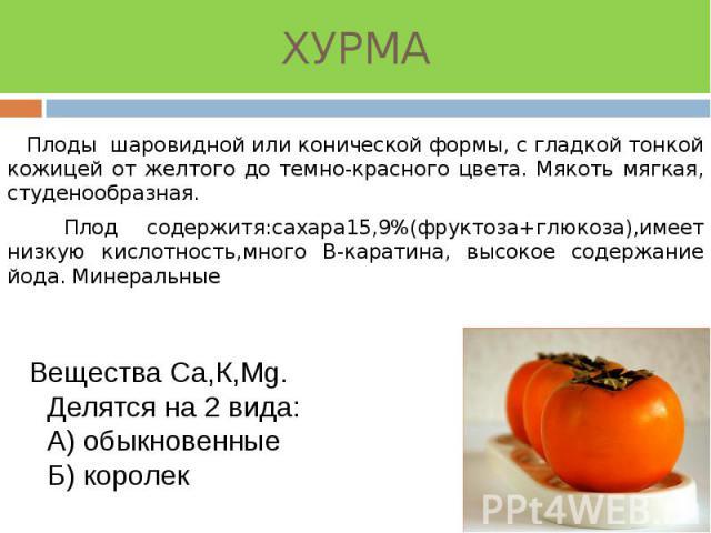 ХУРМА Плоды шаровидной или конической формы, с гладкой тонкой кожицей от желтого до темно-красного цвета. Мякоть мягкая, студенообразная. Плод содержитя:сахара15,9%(фруктоза+глюкоза),имеет низкую кислотность,много В-каратина, высокое содержание йода…