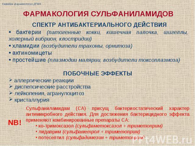 ФАРМАКОЛОГИЯ СУЛЬФАНИЛАМИДОВ