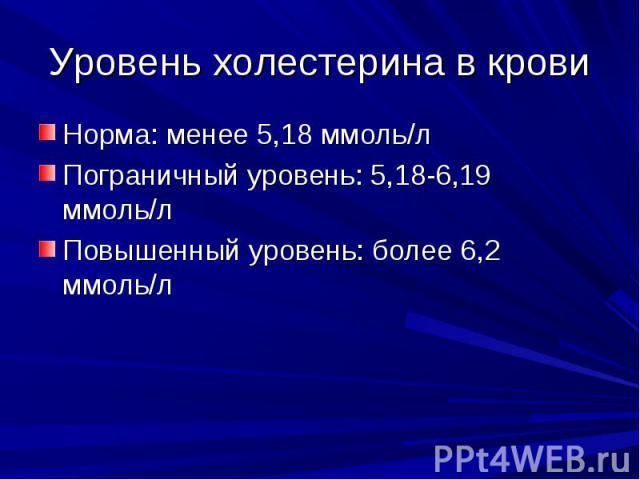 Уровень холестерина в крови Норма: менее 5,18 ммоль/л Пограничный уровень: 5,18-6,19 ммоль/л Повышенный уровень: более 6,2 ммоль/л