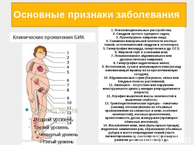 Основные признаки заболевания Клинические проявления БИК