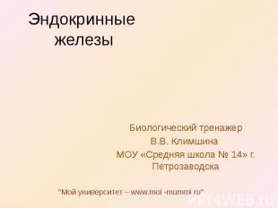 Эндокринные железы Биологический тренажер В.В. Климшина МОУ «Средняя школа № 14»