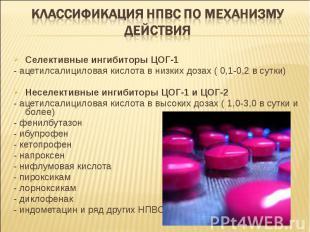 Селективные ингибиторы ЦОГ-1 Селективные ингибиторы ЦОГ-1 - ацетилсалициловая ки