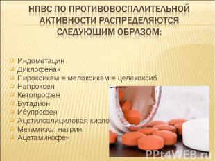 Индометацин Индометацин Диклофенак Пироксикам = мелоксикам = целекоксиб Напроксе