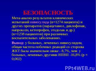 БЕЗОПАСНОСТЬ Мета-анализ результатов клинических испытаний нимесулида (n=1274 па