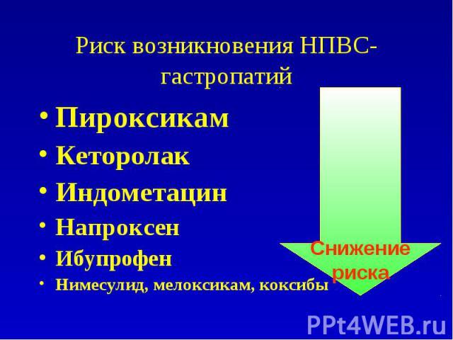 Риск возникновения НПВС-гастропатий Пироксикам Кеторолак Индометацин Напроксен Ибупрофен Нимесулид, мелоксикам, коксибы