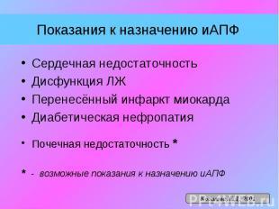 Показания к назначению иАПФ Сердечная недостаточность Дисфункция ЛЖ Перенесённый