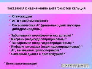 Показания к назначению антагонистов кальция Стенокардия АГ в пожилом возрасте Си