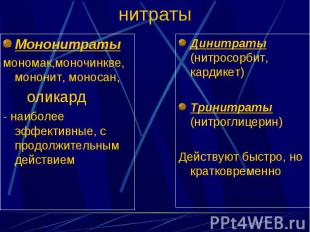 Мононитраты Мононитраты мономак,моночинкве,мононит, моносан, оликард - наиболее