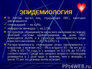В России число лиц, страдающих ИБС, ежегодно увеличивается: В России число лиц,
