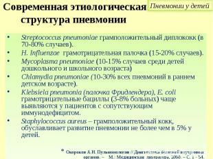Streptococcus pneumoniae грамположительный диплококк (в 70-80% случаев). Strepto