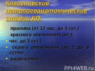Классические паталогоанатомические стадии КП: прилива (от 12 час. до 3 сут.) кра