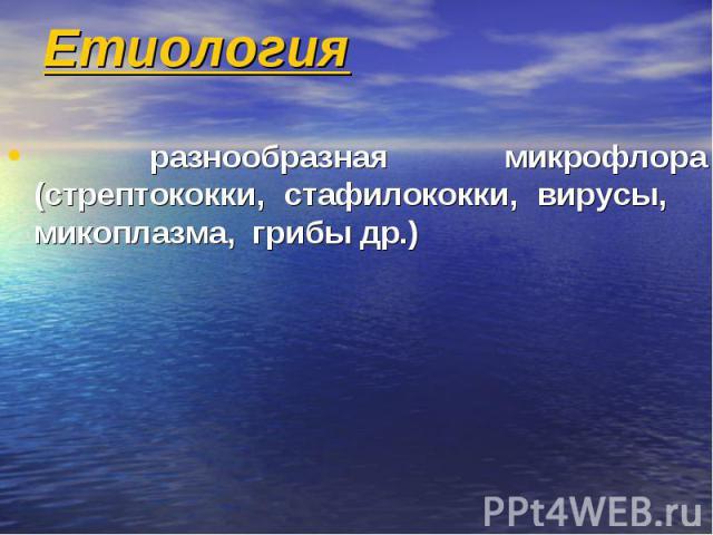 Етиология разнообразная микрофлора (стрептококки, стафилококки, вирусы, микоплазма, грибы др.)