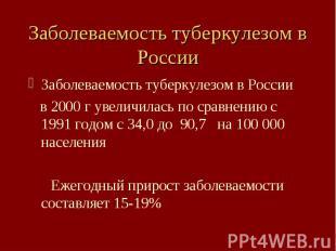 Заболеваемость туберкулезом в России Заболеваемость туберкулезом в России в 2000