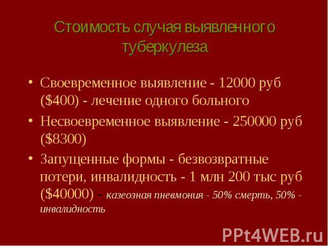 Стоимость случая выявленного туберкулеза Своевременное выявление - 12000 руб ($400) - лечение одного больного Несвоевременное выявление - 250000 руб ($8300) Запущенные формы - безвозвратные потери, инвалидность - 1 млн 200 тыс руб ($40000) - казеозн…