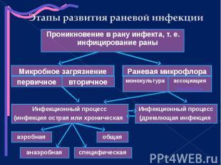 Проникновение в рану инфекта, т. е. инфицирование раны Проникновение в рану инфе