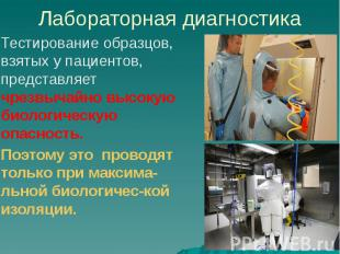 Лабораторная диагностика Тестирование образцов, взятых у пациентов, представляет