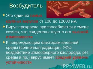Возбудитель Это один из самых крупных вирусов от 100 до 12000 нм. Вирус прекрасн