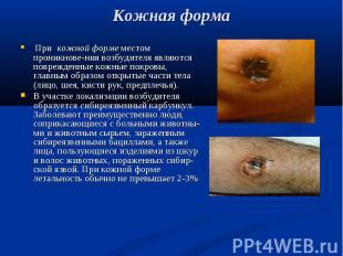 При кожной форме местом проникнове-ния возбудителя являются поврежденные кожные
