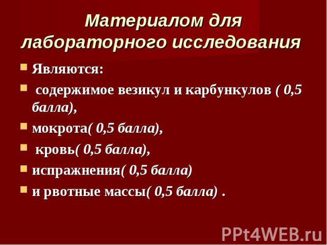 Являются: Являются: содержимое везикул и карбункулов ( 0,5 балла), мокрота( 0,5 балла), кровь( 0,5 балла), испражнения( 0,5 балла) и рвотные массы( 0,5 балла) .