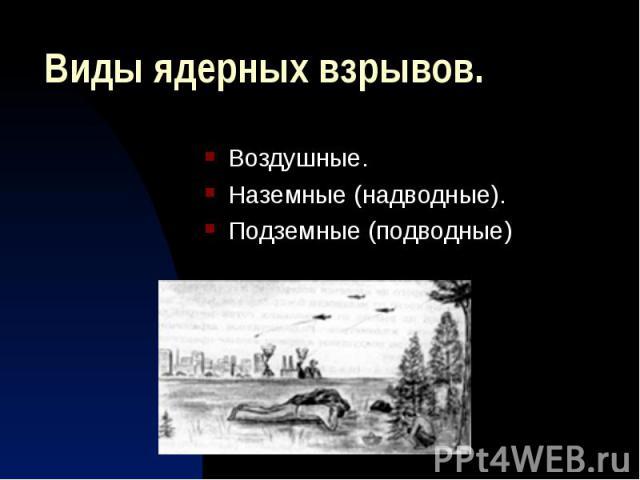 Виды ядерных взрывов. Воздушные. Наземные (надводные). Подземные (подводные)