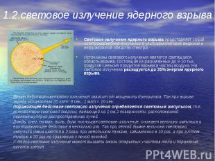 Световое излучение ядерного взрыва представляет собой электромагнитное излучение