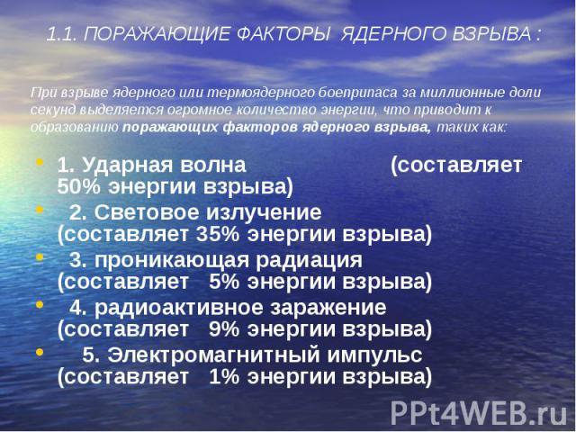 1. Ударная волна (составляет 50% энергии взрыва) 1. Ударная волна (составляет 50% энергии взрыва) 2. Световое излучение (составляет 35% энергии взрыва) 3. проникающая радиация (составляет 5% энергии взрыва) 4. радиоактивное заражение (составляет 9% …