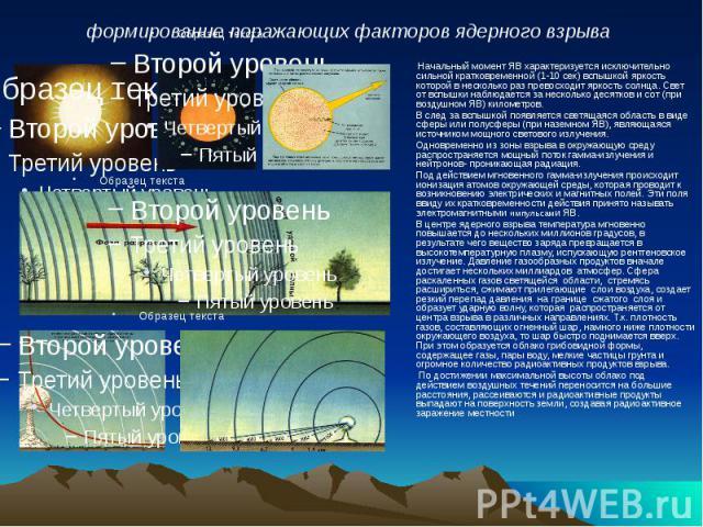 Начальный момент ЯВ характеризуется исключительно сильной кратковременной (1-10 сек) вспышкой яркость которой в несколько раз превосходит яркость солнца. Свет от вспышки наблюдается за несколько десятков и сот (при воздушном ЯВ) километров. Начальны…
