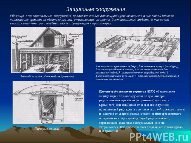 Противорадиационные укрытия (ПРУ) обеспечивают Противорадиационные укрытия (ПРУ) обеспечивают защиту людей от ионизирующих излучений при радиоактивном заражении (загрязнении) местности. Кроме того, они защищают от светового излучения, проникающей ра…