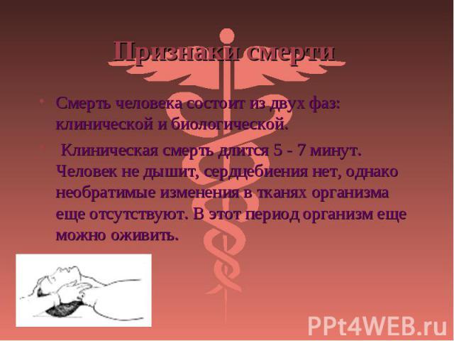 Смерть человека состоит из двух фаз: клинической и биологической. Смерть человека состоит из двух фаз: клинической и биологической. Клиническая смерть длится 5 - 7 минут. Человек не дышит, сердцебиения нет, однако необратимые изменения в тканях орга…