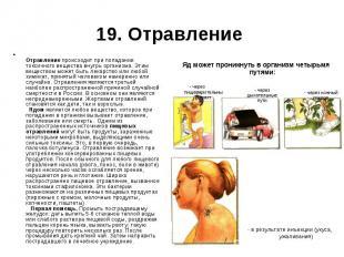 Отравление происходит при попадании токсичного вещества внутрь организма. Этим в