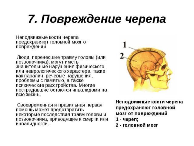 Неподвижные кости черепа предохраняют головной мозг от повреждений Неподвижные кости черепа предохраняют головной мозг от повреждений Люди, перенесшие травму головы (или позвоночника), могут иметь значительные нарушения физического или неврологическ…