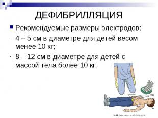 ДЕФИБРИЛЛЯЦИЯ Рекомендуемые размеры электродов: 4 – 5 см в диаметре для детей ве