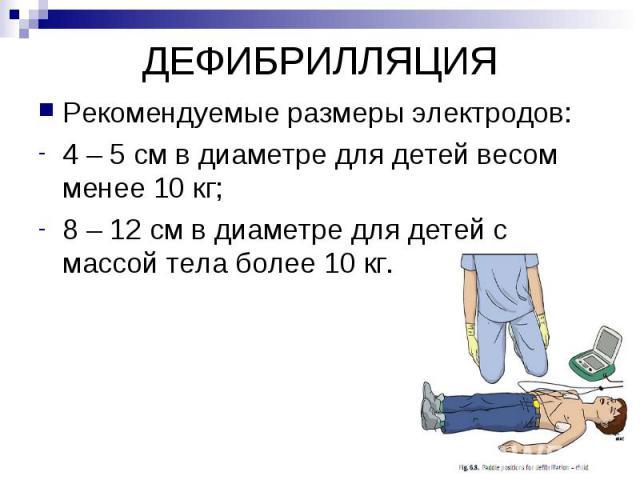ДЕФИБРИЛЛЯЦИЯ Рекомендуемые размеры электродов: 4 – 5 см в диаметре для детей весом менее 10 кг; 8 – 12 см в диаметре для детей с массой тела более 10 кг.